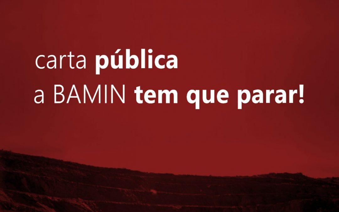 Carta pública contra o início da mineração da BAMIN sem diálogo com a população